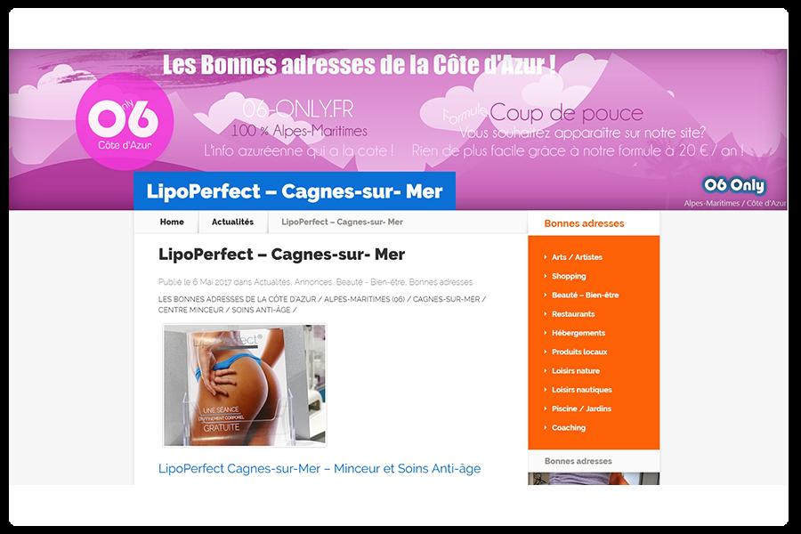Bonnes adresses Côte d'Azur – Formule «Coup de pouce» – LipoPerfect, votre centre d'amincissement et anti-âge à Cagnes-sur-Mer dans les Alpes-Maritimes (06) .  n°2